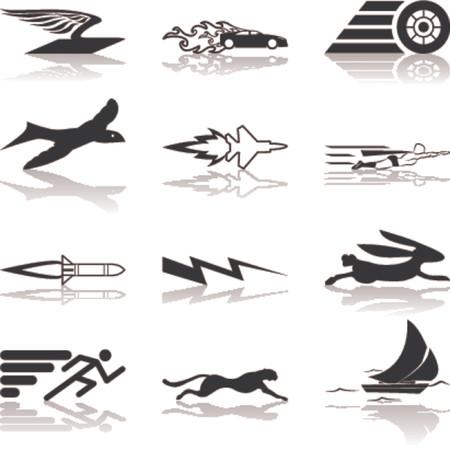 속도 아이콘 설정 시리즈 디자인 요소 개념적 아이콘 집합 속도, 빠른, 및 / 또는 효율적으로 관련 된 설정합니다.