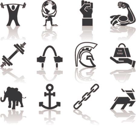 El icono conceptual determinado de los elementos A del diseño de la serie del icono de la fuerza fijó referente a fuerza. Ilustración de vector