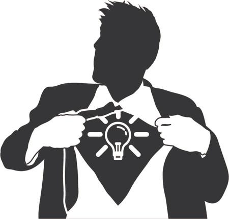 Super ideas man. A business man tearing open his shirt to reveal a light bulb idea icon  Ilustração