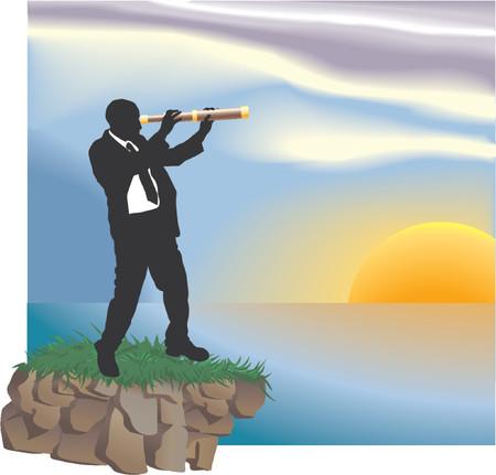 Mirando hacia el futuro. Pieza conceptual. Un hombre de negocios que buscan a través de un telescopio en nuevos horizontes.  Ilustración de vector