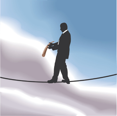 Walking the tightrope. A business man walking a tightrope high in the sky