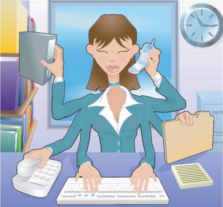 マルチタスク ビジネス女性。オフィスでは、使用するないメッシュの多忙なビジネス女性マルチタスク
