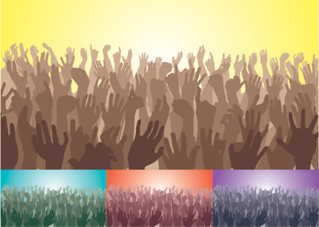 Folla. Una folla con le loro mani. File vettore comprende diverse versioni colore