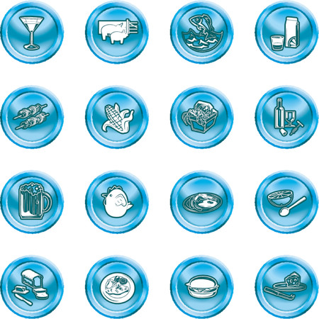 Food Icon Set. A set of food and drink icons. No meshes used. Stock Vector - 1103738
