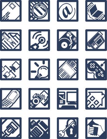 Square Internet Computing Icons.