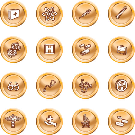 Medical and scientific icons. A set of icons related to medicine and science Stock Vector - 1372709
