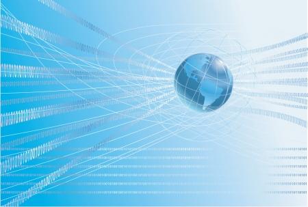 Binary circulation de l'information autour du globe. Une dynamique monde 3d avec fond de carte binaire uns et de zéros coulant ronde.