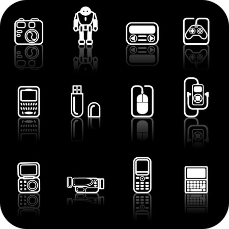 Gadget Icon set. A set of white gadget icons on black background Stock Vector - 1482883
