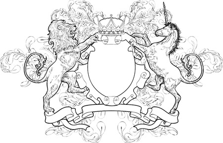 Monochrome Lion et Unicorn Coat of Arms. En noir et blanc manteau bouclier d'armes élément avec un lion, licorne et la couronne