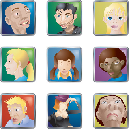 People Faces Icons Avatars. Lots of illustrations of faces/ people/ avatars icons Векторная Иллюстрация