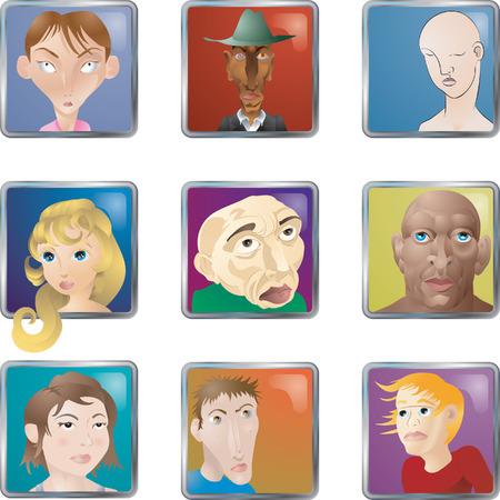 La gente se enfrenta a iconos avatares. Un montón de ilustraciones de caras / personas / avatares iconos