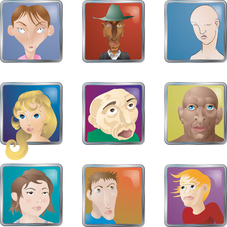 People Faces Icons Avatars. Lots of illustrations of faces/ people/ avatars icons Stock Vector - 1767590