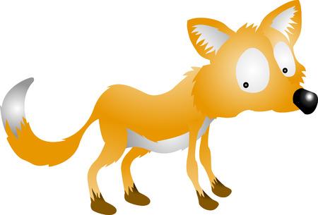 Fox. A vector illustration of a cute cartoon fox character