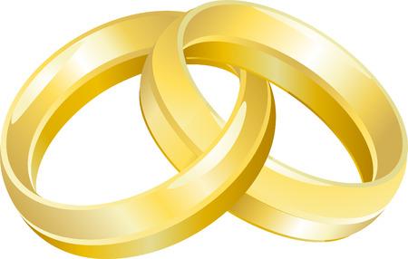Anillo de boda bandas. Una ilustración vectorial de boda bandas entrelazadas o anillos