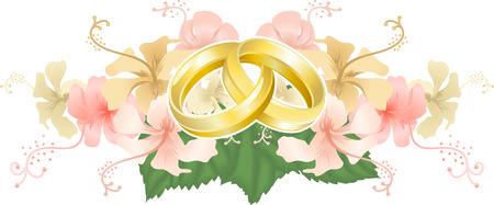 Wedding motif. Wedding motif featuring intertwined wedding bands or rings and beautiful hibiscus flowers