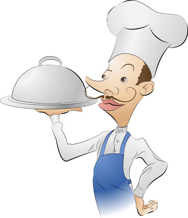 chef illustration. An illustration of a chef looking very pleased with himself