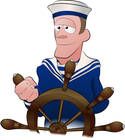 sailor illustration. An illustration of a handsome strong jawed sailor at the ships wheel