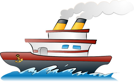 Ship illustration. An illustration of a ship sailing across the waves