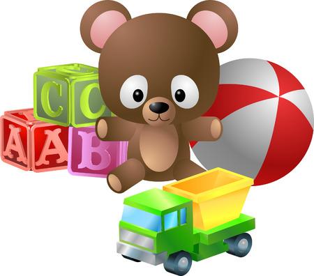 Juguetes ilustración. Un ejemplo clásico de los juguetes para niños, oso, alfabeto bloques, pelota y juguete camión dumper Ilustración de vector