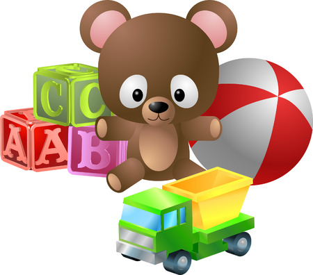 Toys illustration. An illustration of classic children's toys; bear, alphabet blocks, ball and toy dumper truck