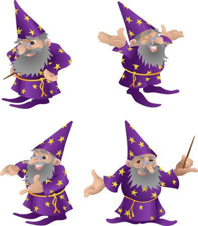 Wizard afbeelding. Een voorbeeld van een zeer funky vriendelijke wizard in vier verschillende poses  Vector Illustratie