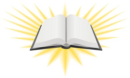 Open Heilige Boek Illustratie. Vector illustratie van een open heilig boek zoals de Bijbel, Thora of Koran