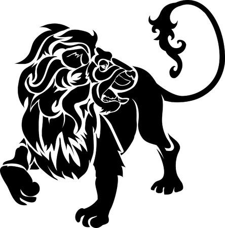 Lion. Monochrome vector illustration of a stylised lion