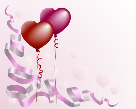 A valentine's card style background with heart shaped balloons and ribbon
