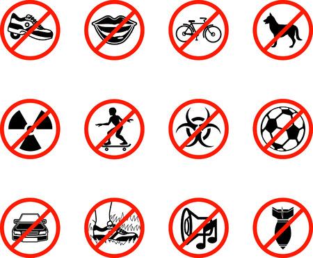 No iconos; una serie conjunto de todos los iconos se esbozan las cosas que están prohibidas o pueden ser llamados a ser prohibido! Por ejemplo, No hablar, no en bicicleta, no perros, no juegos de pelota, etc