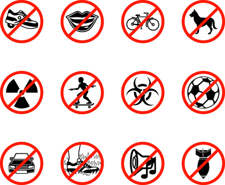 No icons; A series set of icons all outlining things that are prohibited or being called on to be banned! E.g. No talking, no cycling, no dogs, no ball games etc. Illusztráció