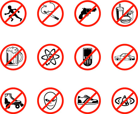 A series set of icons all outlining things that are prohibited or are calling on to be banned! E.g. No running, no smoking, no firearms, no eating, no alcohol, no phones, no sneakers etc. Illusztráció