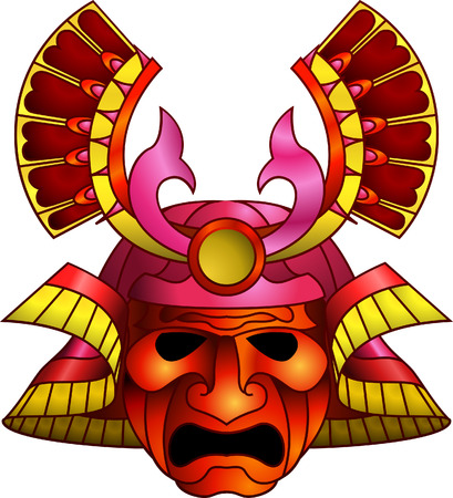 An illustration of a red orange and magenta fearsome samurai mask