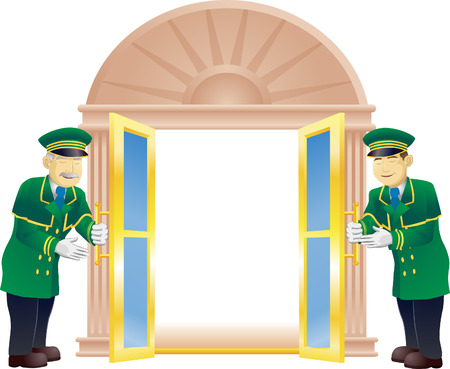 Doormen holding a door open for the viewer like they are a VIP