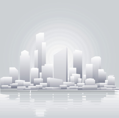 An abstract vector illustration of a city skyline Illustration