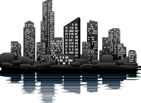 A vector illustration of a night time city skyline Illustration