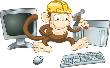 """An illustration of a monkey in a hard hat trying to fix a computer with a hammer. Perhaps a """"website under construction"""" image."""