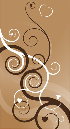 A heart swirls abstract background. Two vines, one brown one white, with heart shaped leaves becoming intertwined symbolising two people in love coming together.