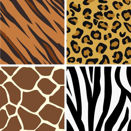 Naadloze betegeling dier print patronen van de tijger, luipaard, giraffe en zebra. Gemaakt met name te kijken naar hun beste wanneer betegeld. Vector Illustratie