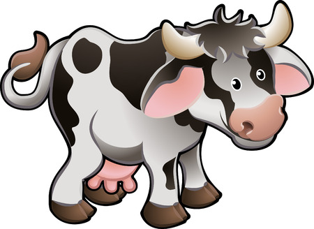 Vector Illustration Of a Cute Dairy Cow