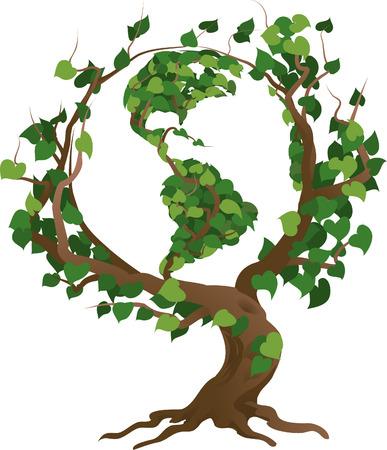 Illustration environnementale conceptuelle de vecteur. Le globe accroissant dans les branches d'un arbre.