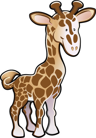 A Cute giraffe children's book style cartoon illustration