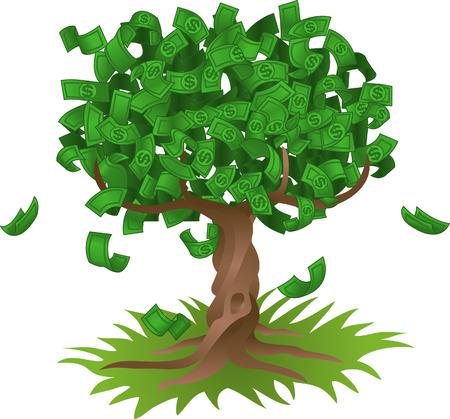 Conceptual ilustración vectorial. El dinero que crecen en un árbol, lo que representa quizá verde inversiones en el medio ambiente o el crecimiento de cualquier ahorro o de inversión.