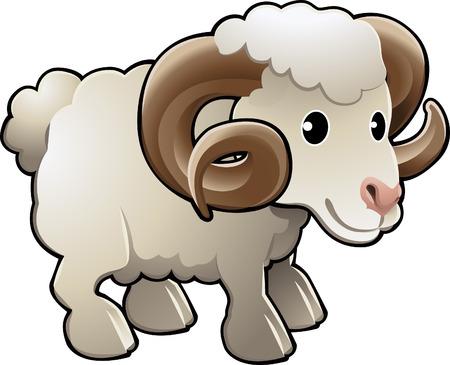 A cute ram sheep farm animal vector illustration