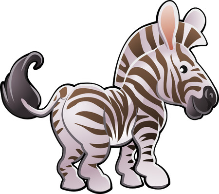 A vector illustration of a cute zebra