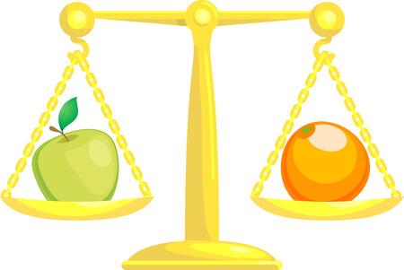 Un concepto de ilustración vectorial que muestra una manzana y una naranja en las escalas. Tratar de comparar manzanas y naranjas.  Ilustración de vector