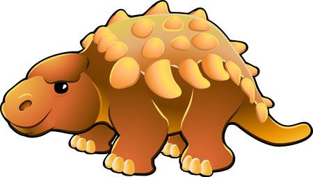 A vector illustration of a cute friendly dinosaur