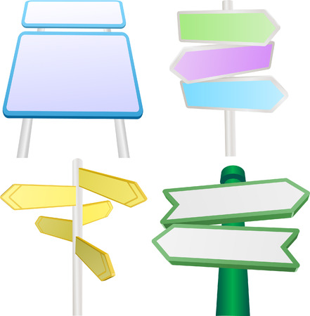 A vector set of blank signs and signposts