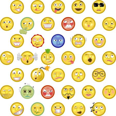 Un ejemplo de una serie de caritas de smileys