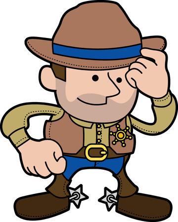 Illustration of male cowboy sheriff in ranger outfit and hat\r Vektoros illusztráció