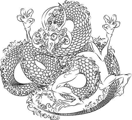 Illustration of black Japanese dragon on white \r